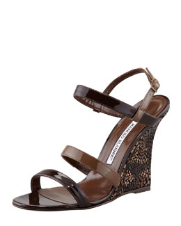 Manolo Blahnik Villano Ankle-Wrap Wedge Sandal, Brown