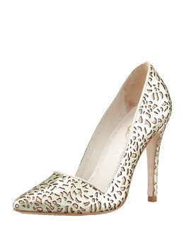 Alice + Olivia Dina Laser-Cut Metallic Pump