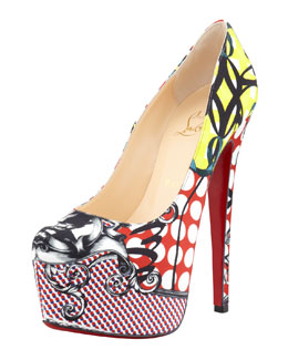 Christian Louboutin Daffodile Multi-Print Platform Red Sole Pump