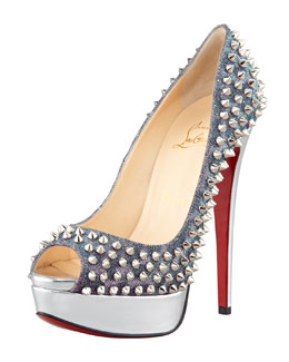 Christian Louboutin Lady Peep Spikes Metallic Red Sole Pump, Turquoise/Violet