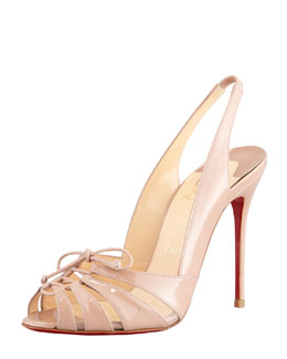 Christian Louboutin Corsetica Patent Leather/PVC Slingback Red Sole Sandal, Nude