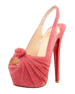Christian Louboutin Miss Benin Suede Knotted Platform Red Sole Slingback, Rose