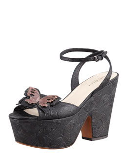 Bottega Veneta Butterfly-Embossed Ankle Wrap Platform Wedge Sandal