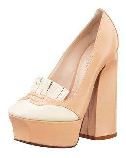 Bottega Veneta Bicolor Loafer Platform Pump, Powder/Ivory