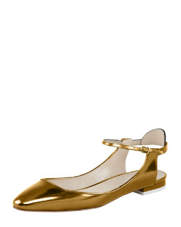 Chloe Open-Heel Metallic Leather Flat, Gold