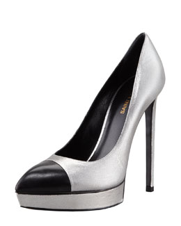 Saint Laurent Janis Metallic Platform Pump, Gray/Black