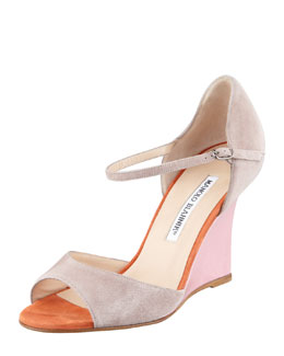 Manolo Blahnik Weldina Suede Mary Jane Patent Wedge Sandal, Taupe