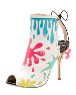 Sophia Webster Arty Party Paint-Splatter Patent Bootie, White/Multicolor