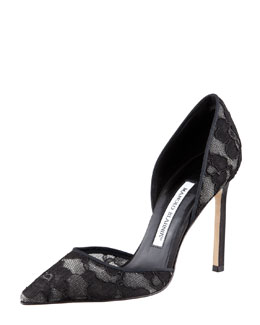 Manolo Blahnik Tayler Lace Pointed d'Orsay Pump, Black