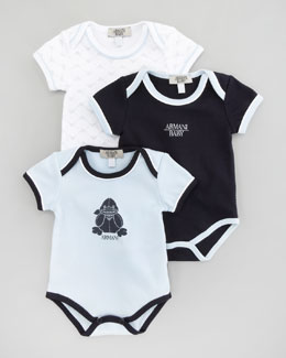 Armani Junior Set of 3 Boys' Bodysuits, Deep Sky