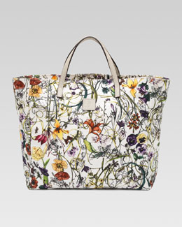 Gucci Girls' Floral-Print Canvas Tote Bag