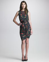 McQ Alexander McQueen Printed Knot-Hem Dress & Grommet-Detailed Belt