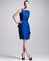 Fendi Crocodile-Texture Peplum Dress