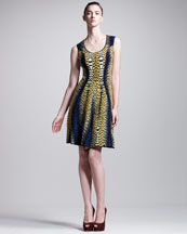 Fendi Shagreen-Intarsia Dress