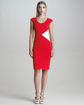 Armani Collezioni Contrast-Panel Milano Jersey Sheath Dress