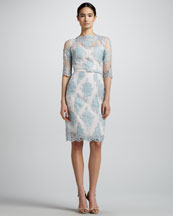 Erdem Anna Lace Elbow-Sleeve Dress, Light Blue