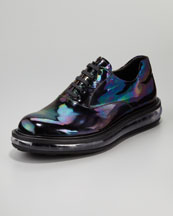 Prada Oil Slick Iridescent Lace-Up Shoe