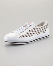 Prada Perforated Low Sneaker, White