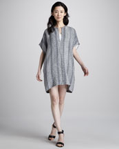 Vince Printed Silk Tunic Dress