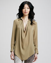 Haute Hippie Silk Cowl-Neck Blouse