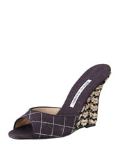Manolo Blahnik Vince Slide Cork Wedge Sandal, Black