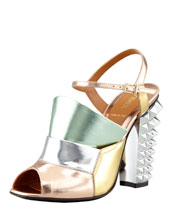 Fendi Runway Mirrored Pyramid Stud-Heel Sandal, Silver/Rose/Mint