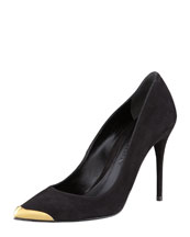 Alexander McQueen Pointed Metal-Toe Suede Pump, Black