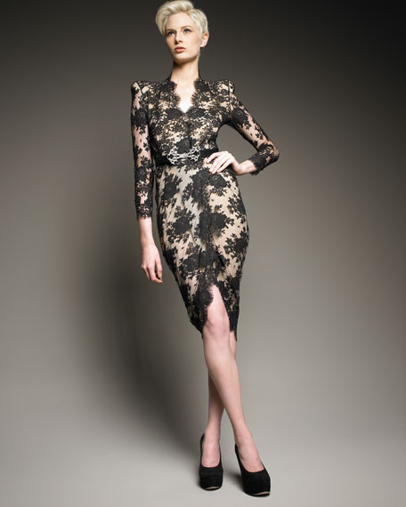 Lace Faux-Wrap Dress