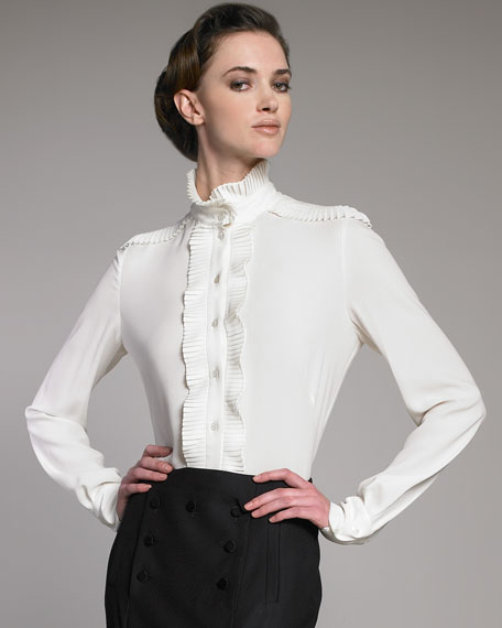 Plisse Stand-Collar Blouse