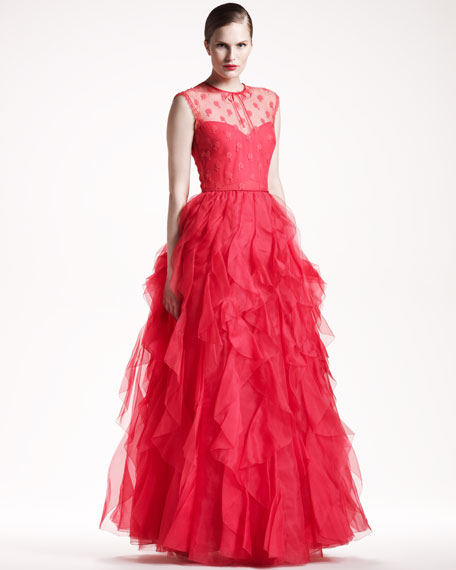 Rosette-Top Voulant Gown