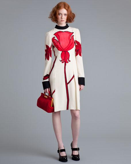 Contrast-Trim Floral Dress