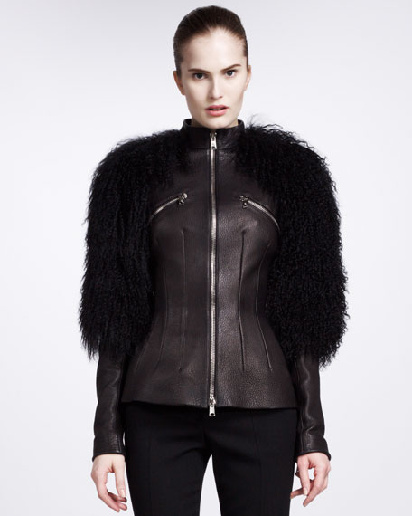 Shearling-Sleeve Leather Jacket
