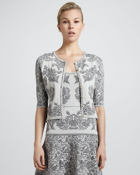 Bonded Jacquard Knit Cardigan, Gray