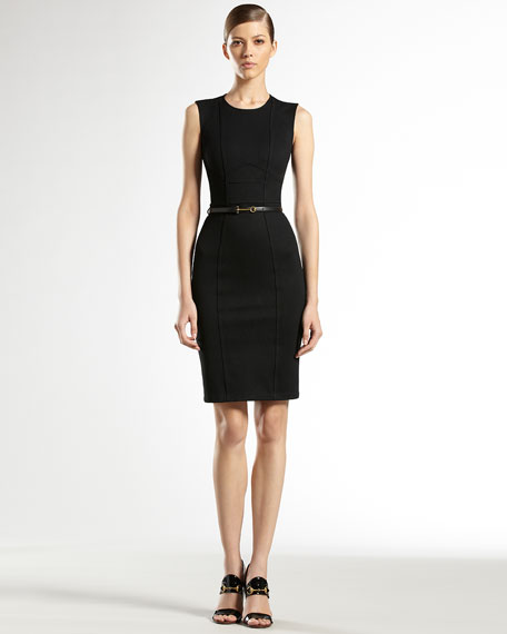 Leather-Belted Shift Dress