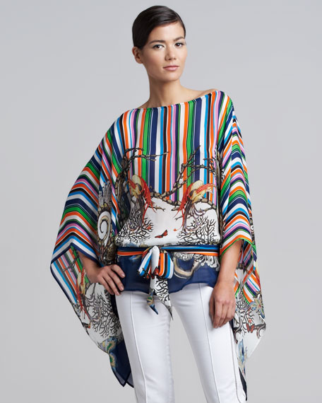 Striped-Print Caftan Top
