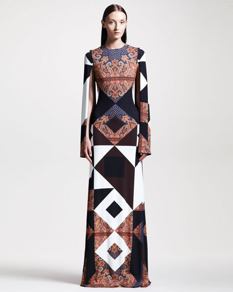 Mixed-Print Crepe Gown
