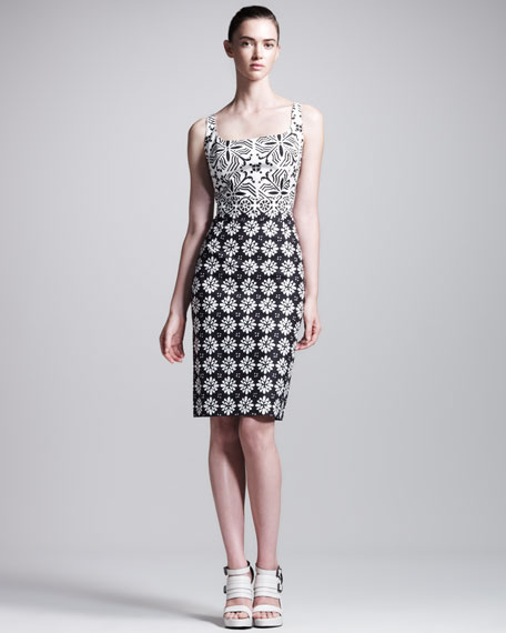 Mixed-Print Scoop-Neck Sheath Dress