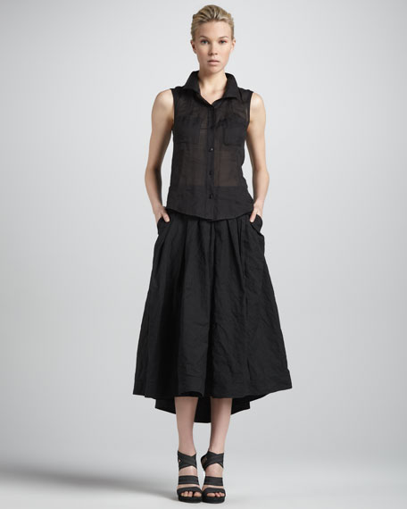 Jersey-Waist Mock Wrap Skirt