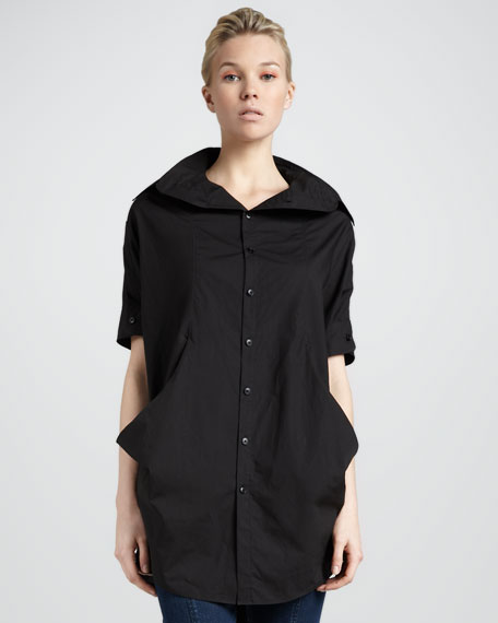 Drape-Sides Tunic, Black
