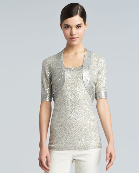 Sequined Evening Shrug, Natural