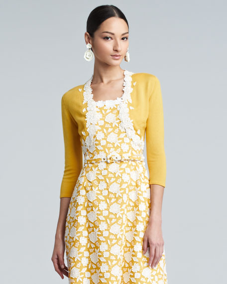 Floral-Trimmed Cropped Cardigan, Amber