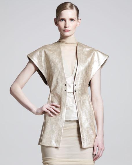 Strong-Shoulder Leather Jacket