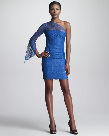 One-Shoulder Lace Sheath Dress, Blue