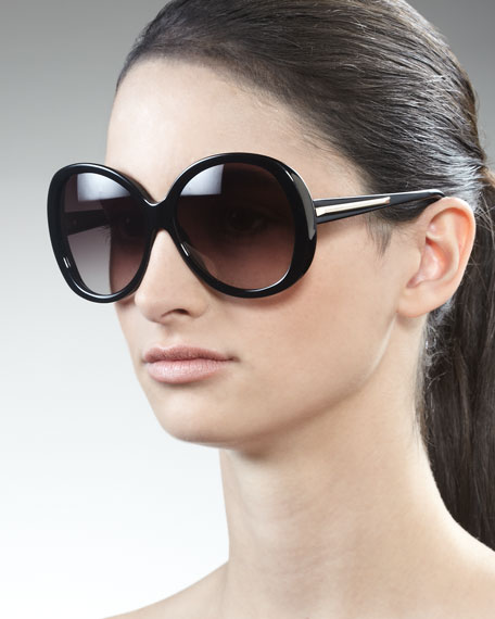 Rounded Resin Sunglasses, Black