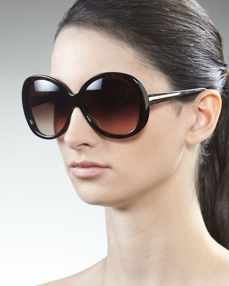Rounded Resin Sunglasses, Dark Havana