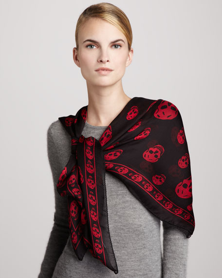 Skull-Print Chiffon Scarf, Dark Purple/Red