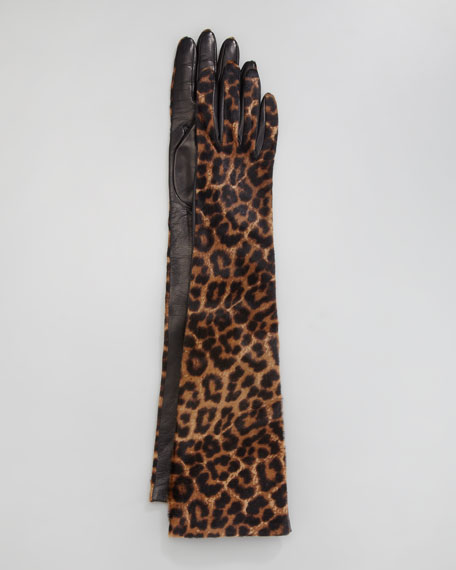 Leopard-Print Calf Hair Opera Gloves