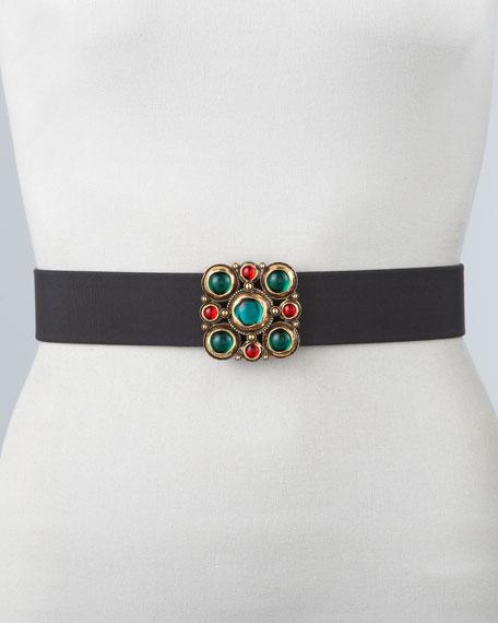Cabochon Cluster Leather Belt, Black