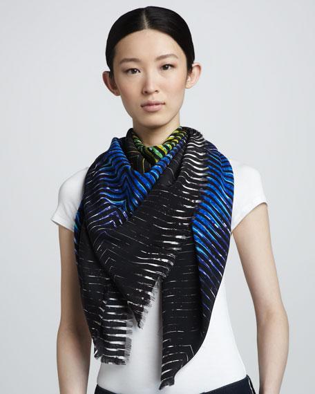 Carnation-Print Silk Scarf
