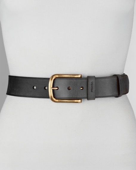 Cuoio Leather Belt, Nero